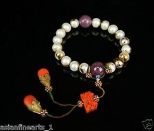 Old Natural Pearl Bracelet Gem and Coral Charms Chinese Antique Jewellery #388