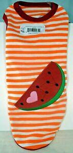 Kool Tees - Orange & White Stripe w/Watermelon Shirt (Pet/Dog) Medium