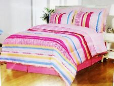 Girls Pink Striped Full Comforter Sheet Set Reversible Shams Bedskirt 8pc New
