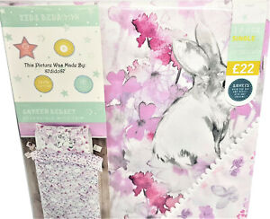 🐇 Next Grey Easter Bunny Rabbit Hare Floral Watercolour Bed Set Bedding Pom Vtg