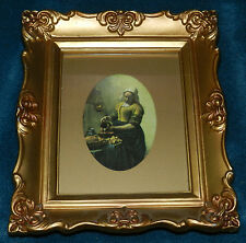 LOVELY GOLD VINTAGE PHOTO FRAME/PRINT!! # 62 THE MILKMAID - VERMEER