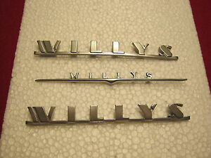 Jeep wagons, 1947-1965 WILLYS Emblem set, plastic 3 piece set.