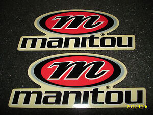 2 AUTHENTIC MANITOU FORK LOGO STICKERS / DECALS