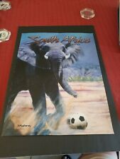 2010 SOUTH AFRICA ELEPHANT COMMEMORATIVE SOCCER POSTER 24 x 18 EXCELLENT COND.
