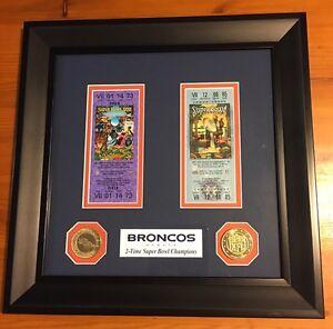 NFL Denver Broncos SB Championship Ticket Collection Frame, 12 x 12 Inches