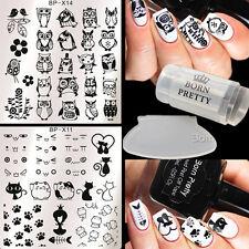 4Pcs Nail Art Stamping Plates Polish Stamper W/Scraper BORN PRETTY Cat Owl Image