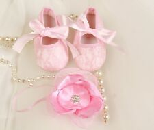 VINTAGE BABY LACE GIRLS SHOES PINK&FLOWER HEADBAND SET-CRYSTAL CHRISTENING PARTY