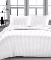 LUXURIOUS BEDDING SET WHITE STRIPE 100% COTTON 600 THREAD COUNT 15 INCH DEEP