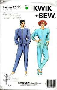 1980s Kwik Sew Sewing Pattern 1639  Misses' Dropped waist Jumpsuit Size XS-L