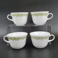 Corelle VTG Coffee Tea 8 Oz Cups Green Crazy Daisy Spring Blossom Set of 4 MINT