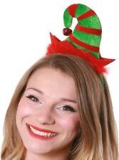 c56551a4f95d7 Mini Red   Green Elf Hat On Headband Christmas Fancy Dress Santas Helper  Elves