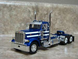 DCP 1/64 Blue White 379 Peterbilt Daycab Semi Truck Farm Toy