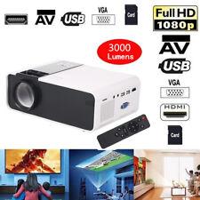 W10 3000LM LED Video Projector HD 1080p 16:9 Home Theater HDM/USB/VGA/AV/TF E2I0