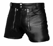 Mens REAL Sexy Black Leather Chastity Gay Bondage Shorts REAR ZIP
