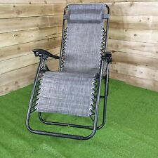 More details for luxury zero gravity garden relaxer chair / sun lounger - grey