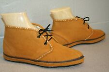5.5  NOS Vtg 1960s 1970s MOCCASIN ANKLE BOOT 60s LaCrosse GOLD SUEDE BOOTIE Shoe