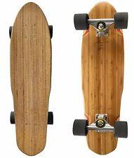 "LMAI 27"" Bamboo Maple Wood Longboard Skateboard Clear Grip"