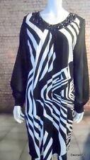 black white zebra abstract stripe chiffon sleeve shift dress jewel front 18