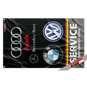 German Cars Service Flag (3x5 ft) Vertical