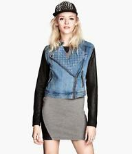 H&M QUALITY DENIM CONTRAST WAXED SLEEVES QUILTED BIKER JACKET size 12 new!!!