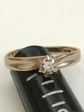 LADIES 10K SOLID YELLOW GOLD NATURAL DIAMOND WEDDING PROMISE RING