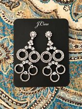 Sold Out!New$49.50 Nwt With Bag J.Crew Crystal PavÉ Circles Statement Earrings!