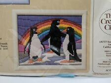 Vgt. The Creative Circle #1431 Rainbow Penguins Embroidery Kit Stitch dated1986