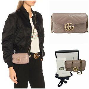 GUCCI GG Marmont Super Mini Bag in Tan/Dusty Pink NIB