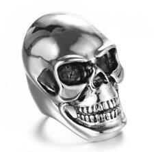 Men Punk Stainless Steel Gothic Cool Skull Head Biker Finger Rings Jewelry Sale