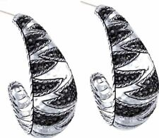 JOHN HARDY Hammerded Sterling Silver Black Sapphire Palu Macan Hoop Earrings