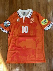 Lotto Holland Netherlands 1996 European Cup Bergkamp #10 Jersey Size Large