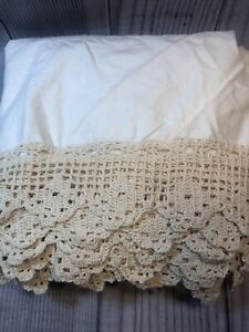 Queen Cotton Crochet Drop Cream Ivory Tailored Bed Skirt Victorian Shabby Chic