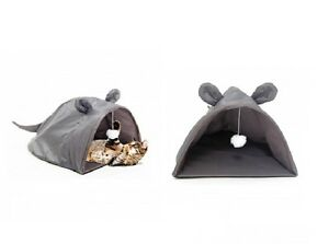 Mouse Shape Cat House with hanging toy for Cats - Extra Excitement - Cozy Fun
