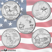 2004 P & D State Quarter Set From Mint Rolls 10 Quarters Uncirculated