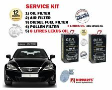 FOR LEXUS IS200D 2.2DT 2010->NEW OIL AIR FUEL POLLEN FILTER SET + 8 LITRES OIL