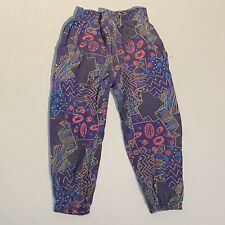 Vintage 80s Boys Beach Pants Mc Hammer cotton joggers Size L 7 Purple Neon