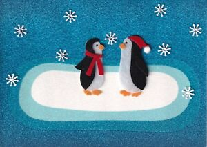 PAPYRUS CHRISTMAS CARD NIP MSRP $7.95 PENGUINS ON ICE CARD (G4)