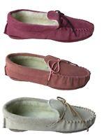 Genuine Suede Moccasin Slippers Sizes 3 - 8 Ladies Pink Plum Beige UK