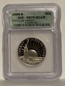 1986-S Proof Silver Statue of Liberty Commem Half Dollar ICG PR70 DCAM 50c