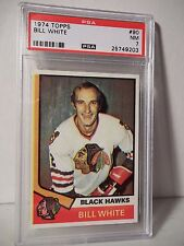 1974 Topps Bill White PSA NM 7 Hockey Card #90 NHL Collectible