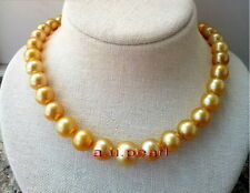 """TOP LUSTER 18""""10-12mm Natural south sea yellow golden pearl necklace 14K GOLD"""