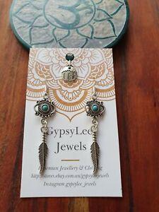 Gypsy Soul Earrings Turquoise Feather GypsyLee Jewels Bohemian Silver925 Hooks