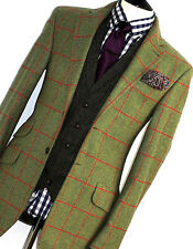 Homme Hackett London Tweed Bespoke hunting shooting Box Carreaux Veste de tailleur 38R
