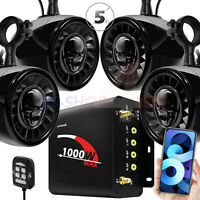 "5"" 1000W Amp Bluetooth ATV UTV RZR Polaris Stereo 4 Speakers Audio System Radio"