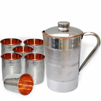 SET of 7 Pcs Indian Copper Drink Water Silver Polished Hammered Jug + 6 Tumbler