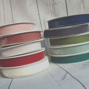 6, 9, 15mm Velvet Ribbon. Hair Bow Bands Pink Green Natural Teal Red White Thin