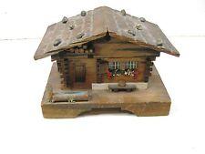 vintage c1960s small wooden swiss cottage music box trinket box