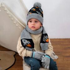 Kids Boys Winter Knitt Pom Pom Beanie Hat Scarf and Gloves Set for Age 1-5 Years