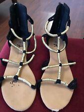Primark Black & Gold Sandals Size 7