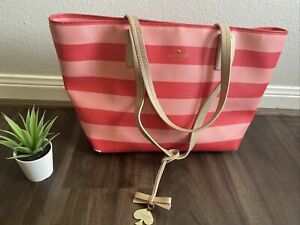 KATE SPADE LARGE TOTE - Striped Tote  (Pink/Red)  Eden Street
